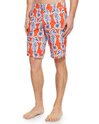 Vilebrequin Meia Seahorse Print Board Shorts Orange