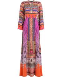 Printed silk maxi dress medium 960684