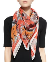 Orange Print Silk Scarf
