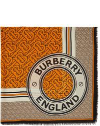 Burberry Silk Wool Gauze Monogram Square Scarf