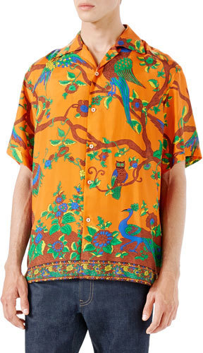 0dcd09bd090 ... Gucci Jubilee Print Silk Bowling Shirt Orange ...