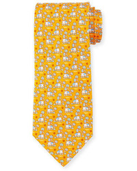 Salvatore Ferragamo Elephant Tree Printed Silk Tie