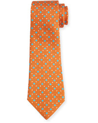 Kiton Neat Box Pattern Printed Silk Tie Orange