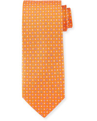 Salvatore Ferragamo Neat Gancini Print Silk Tie Orange