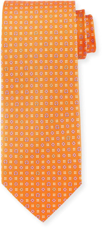 Salvatore Ferragamo Neat Gancini Print Silk Tie Orange