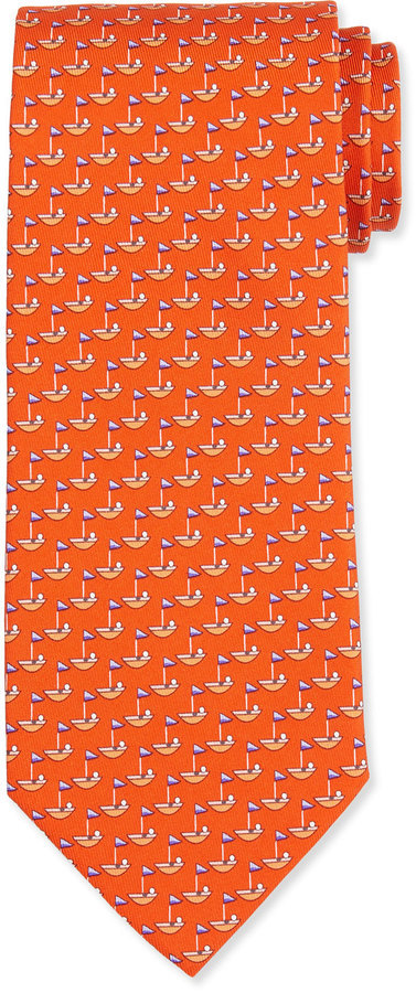 Salvatore Ferragamo Sailboat Printed Silk Tie Orange