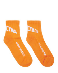 Heron Preston Orange And White Logo Socks