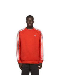 adidas Originals Red 3 Stripes Sweatshirt