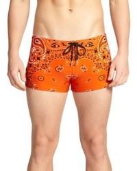 Versace Bandana Print Swim Trunks