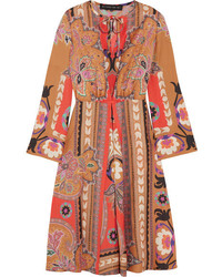Etro Printed Wool Midi Dress Orange