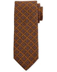 Robert Talbott Medallion Print Wool Estate Tie Orange