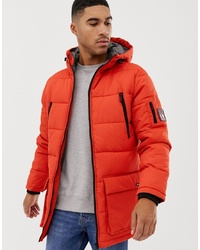 Nicce London Nicce Long Line Puffer Jacket In Orange With Hood