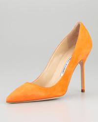 Manolo Blahnik Bb Suede High Heel Pump Orange