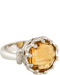 Ring 18k Citrine Diamond Cocktail