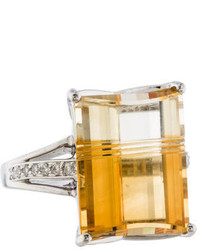 Ring Citrine Diamond Cocktail