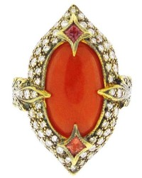 Cathy Waterman Coral Arabesque Double Leaf Ring