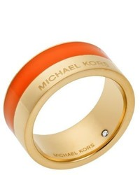 Michael Kors Michl Kors Gold Tone And Orange Accented Ring