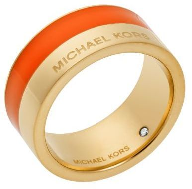 Michael Kors Michl Kors Gold Tone And Orange Accented Ring | Where ...