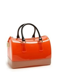 Orange Rubber Satchel Bag