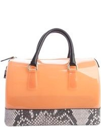 Furla Belletto Pink And Brown Candy Rubber Gel Handbag