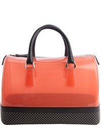 Furla Red And Onyx Black Rubber Studded Leather Trimmed Candy Satchel