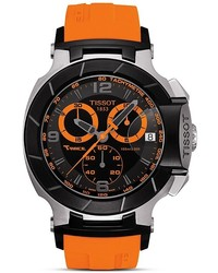 T race black quartz chronograph orange rubber watch 50mm medium 217188