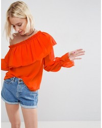 Asos One Shoulder Blouse With Ruffle