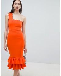 ASOS DESIGN One Shoulder Scallop Pephem Midi Dress