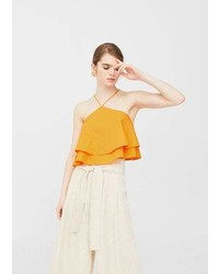 Mango Ruffle Cropped Top