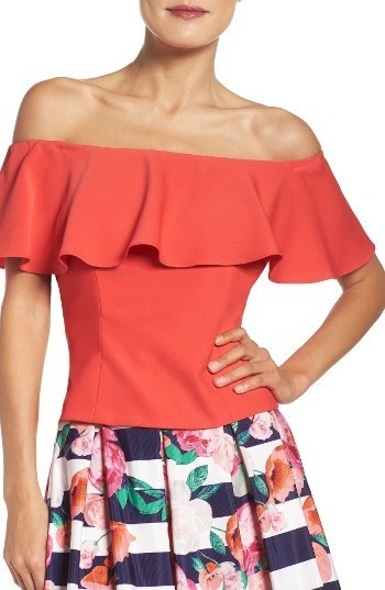 6b8c8080360 Eliza J Ruffle Off The Shoulder Top, $128 | Nordstrom | Lookastic.com