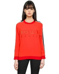 Kenzo Logo Embroidered Satin Backed Crepe Top