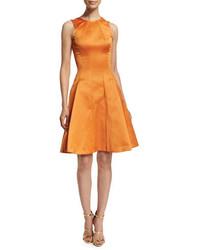 Orange Satin Fit and Flare Dress