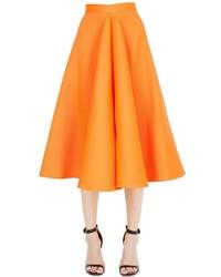 Maison Rabih Kayrouz Flared Techno Silk Satin Midi Skirt