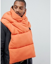 ASOS DESIGN Colourblock Padded Scarf In Black Orange