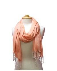 Luxury Divas Solid Orange Linen Lightweight Fringed Scarf