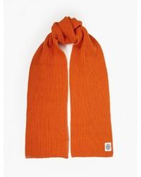 Stone Island Orange Ribbed Wool Scarf
