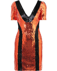 Orange Sequin Sheath Dress