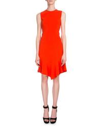 Givenchy Sleeveless Handkerchief Hem Sheath Dress Bright Orange