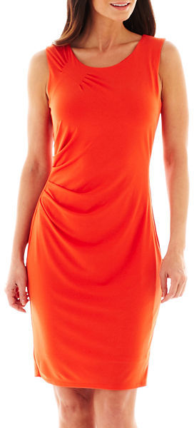 53407971 ... Orange Sheath Dresses jcpenney Worthington Sleeveless Ruched Sheath  Dress ...