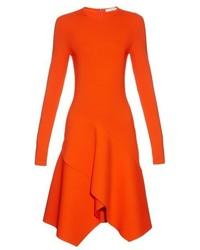 Givenchy Long Sleeved Asymmetric Hemline Jersey Dress