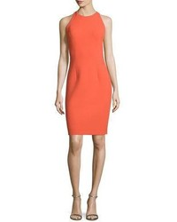 Carmen Marc Valvo Sleeveless Sheath Dress With Back Cutouts Orange