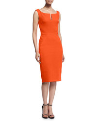 Sleeveless split neck cocktail dress orange medium 382914