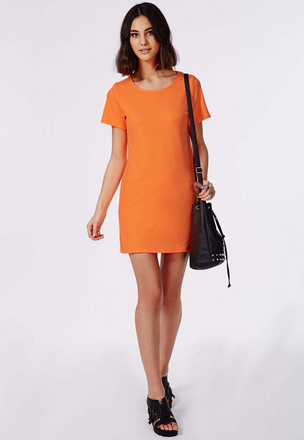 Missguided Pansitta Neon Orange Shift Dress 36 Missguided