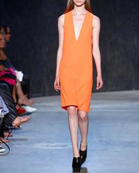 Narciso Rodriguez Deep Armhole V Neck Shift Dress Bright Orange