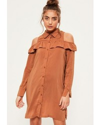 Missguided Brown Ruffle Cold Shoulder Shirt Dress