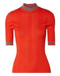 Fendi Cable Knit Silk Turtleneck Sweater