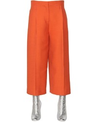 Fendi Wool Silk Gazar Wide Cropped Pants