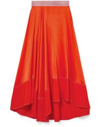 Roksanda Shona Asymmetric Silk Satin Midi Skirt