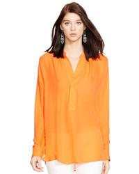 Orange Silk Long Sleeve Blouse