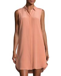 Equipment Lanie Silk Sleeveless Shirtdress Light Orange
